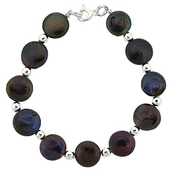 Picture of Sterling Silver Freshwater Cultured Iridescent Black Coin Pearl Bead Bracelet