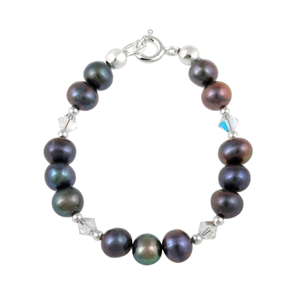 Picture of Sterling Silver Freshwater Cultured Peacock Pearls & Swarovski Elements Baby Bracelet
